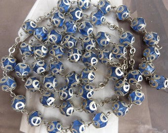 Vintage REUSE Blue Glass Rosary Chain Bead Caps Supply