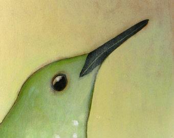 hummingbird portrait bird no. 39 ORIGINAL mixed media bird painting 6 x 6