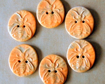 6 Rustic Handmade Ceramic Bee Buttons - Autumn Orange Stoneware Buttons - Perfect for Button Bracelets or Autumn Accents