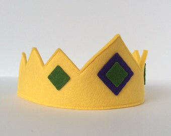 Wool Felt Crown -- merino wool Earth Child crown--butter yellow with felt jewels