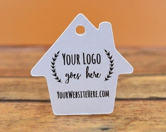 "House Shape | Custom Tags | 1.5"" Personalized with Logo Text - Jewelry Tags - Price Tags - Hang Tags"