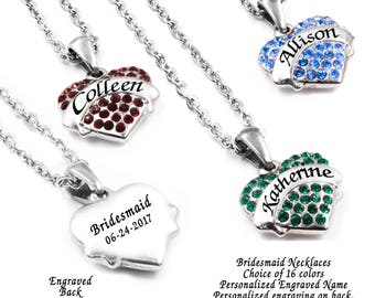 Personalized Bridesmaids Necklace, Bridesmaid Names, Birthstones, Dainty Personalized Engraving, 16 crystal colors in stainless steel