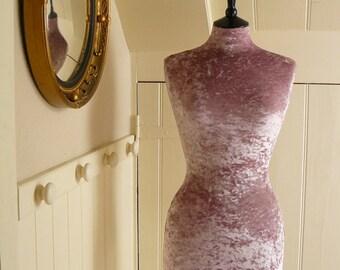 Female Mannequin Full Sized Display Crushed Velvet PINK BLUSH Dressform