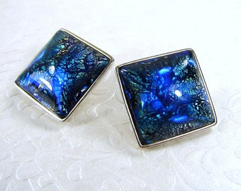 Rare 1980's YSL Earrings Large Yves Saint Laurent Square Blue Dichroic Art Glass Runway Couture Costume Jewelry Silver Clip Designer Signed