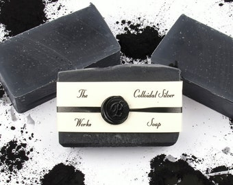 Colloidal Silver Soap - The Works Dead Sea Mud,Tea Tree Oil, Bamboo Charcoal, Acne Soap - Wife Gift -  Husband Gift