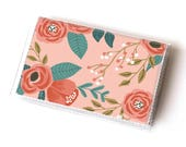 NEW Handmade Vinyl Card Holder - Botanical Pink  / card case, vinyl wallet, women's wallet, small wallet, pretty, floral, flowery, gift