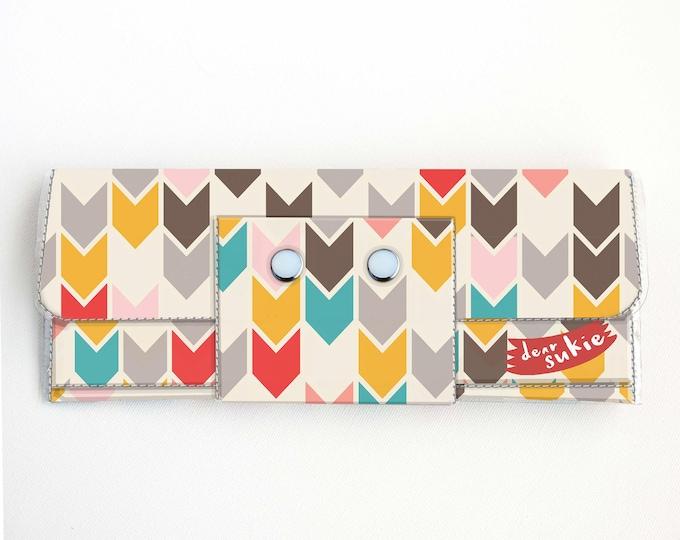 Vinyl Long Wallet - Arrows / geometric, vegan, large wallet, clutch, card case, vinyl wallet, handmade, arrows, tribal, cute, handmade