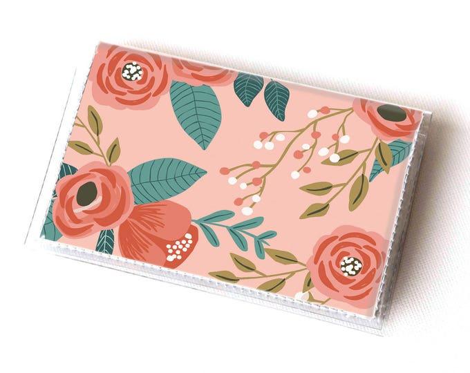 NEW Handmade Vinyl Card Holder - Botanical Pink  / card case, vinyl wallet, women's wallet, small wallet, pretty, floral, flowery, gift