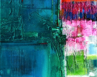 """Pink, Blue, Green Abstract Painting on Canvas, Original Very Textured Large Mixed Media"""" Color Bliss"""" by Kathy Morton Stanion EBSQ"""