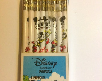 Vintage Mickey Mouse 8 Pencils Disney