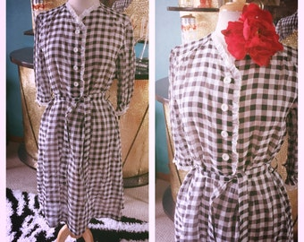 Vintage 1940s Dress Gingham Print L XL black white Swing Rockabilly Pinup 40s