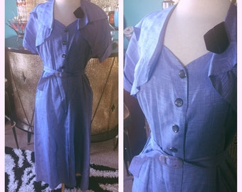 Vintage 1950s Dress periwinkle blue silk 50 L secretary rockabilly pinup