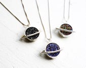 Handmade Sterling Silver Saturn Druzy Pendant Cosmos Necklace Solar System