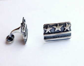 DC Flag Cuff Links in Sterling Silver