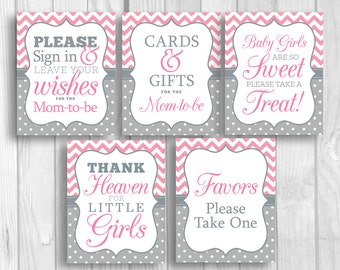 Pink and Gray 8x10 Printable Girl's Baby Shower Sign Bundle - Guest Book, Gift Table, Favor Table and More - Instant Download