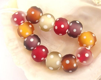 12 Etched Handmade Lampwork Beads