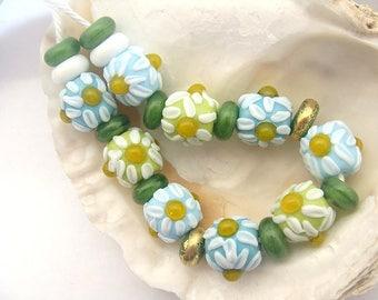 9 Chamomile Beads & 12 Spacers Handmade Lampwork