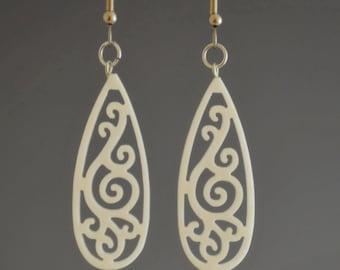 Upcycled Corian White Earrings Teardrop Filigree Dangle Drop Earrings - Upcycled Handmade Recycled Earrings - Gift for Her