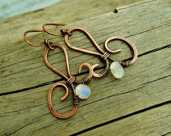 Moonstone and hammered copper earrings - antiqued copper wire wrapped dangle earrings