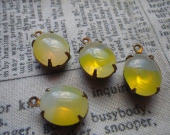 Jonquil Sabrina Yellow and White Vintage West German Oval 12x10mm Glass Drops 4 Pcs
