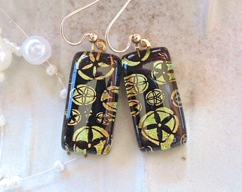 Gold and Black Earrings, Fused Dichroic Glass Jewelry, Dangle, Gold, A13
