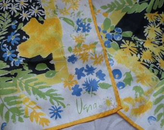 Vintage Vera Long Silk Scarf Signed Lady Bug Mark Florals in Periwinkle Blue Yellow Greens and Black Circa 1960s