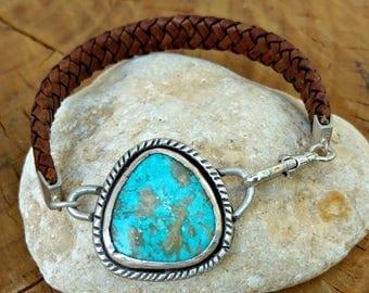 Turquoise Bracelet, cuff bracelet,  American Turquoise Cuff Bracelet,  leather and turquoise stone bracelet