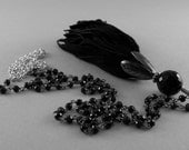 Long Leather Tassel and Onyx Stone Necklace in Silver and Black Spinel Stone Chain