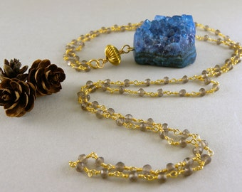 Long Earthy Blue Agate Geode Nugget Stone Necklace in Gold and Smoky Quartz Stone Chain