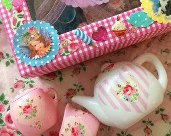 Blythe...Special SALE!!...Handmade Wooden Doll Bed Tray of Sweet Treats in a Cute Gift Box!!..With a Teapot Set Too..Doll Food.