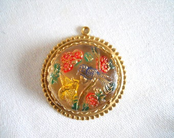 Vintage Czech Glass Bird Pendant