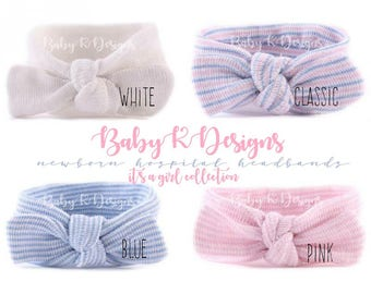 Baby Girl Headband. Baby Girl Beanie Headband. Newborn Hospital Hat Headband. Newborn Pink White Bow. Baby Girl Coming Home Announcement