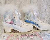 Vintage,Winter Scene Ice Skates, Hand Painted and Snow Glittered,Crackled Shabby Chic, Display, Distressed, ECS