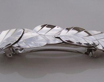 Sterling Silver Basil Leaf Barrette - Large
