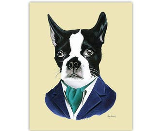 Boston Terrier Dog art print by Ryan Berkley - 8x10