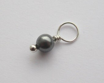 Dark Grey Swarovski Pearl 4mm Sterling Silver Dangle Charm, With or Without Sterling Silver Jump Ring