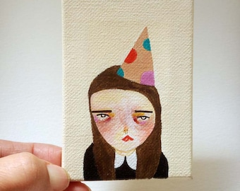original small painting, canvas painting, mini painting, the painful party