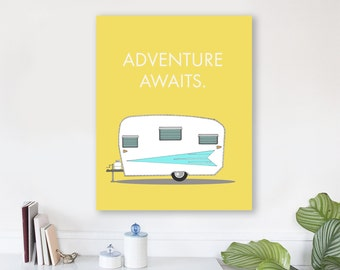 large modern wall art on canvas, minimalist fine art, colorful modern wall art, vintage camper, large quote wall art - Adventure Awaits