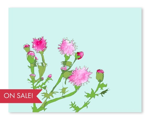 Pink Thistle Patch - large poster sized wall art, abstract modern art prints, colorful abstract wall art, prints, large wall art, large art