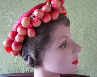 Wired Fruit Halo Veil 1950s Wire Cage Hat Floral Red  Velvet Rockabilly
