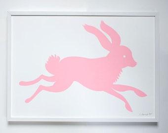 Pastel Neon Bunny Art Print - Wall Art