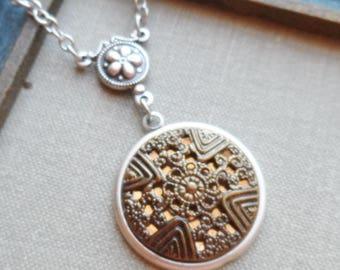 Antique Button Necklace, Ornate Brass, Cross Design