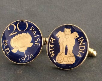 India coin cufflinks 20 Paise  lion and lotus blossom 22mm.
