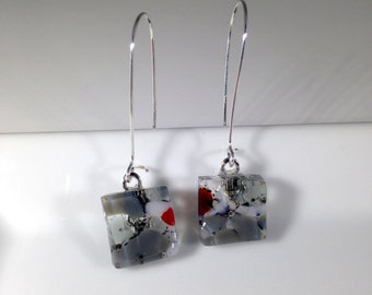 Handmade Sterling Silver Kidney Fused Glass Earrings in Gift Box - grey, clear and red  - FREE UK SHIPPING