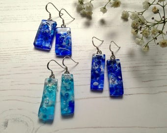 Clearance - 45% off - Handmade Sterling Silver Fused Glass Earrings in Gift Box - blue and turquoise  - FREE UK SHIPPING
