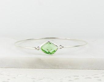 August Birthstone Peridot Sterling Silver Bangle Bracelet, Sterling Silver Bracelet, Peridot Bangle Bracelet, Bridesmaid Jewelry