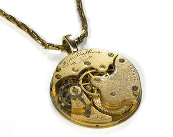 Steampunk Jewelry Necklace Vintage Gold Pocket Watch Womens Steam Punk Wedding Anniversary Holiday Gift  STUNNING - Jewelry by edmdesigns