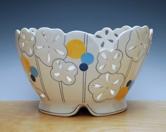 Large Floral pierced fruit bowl in Ivory w. Orange & Blue polka dots, Handmade Victorian modern