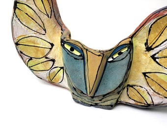 """Clay Owl sculpture / Owl Figurine, whimsical owl art, colorful ceramic owl art,"""" Owl Holding the Sunlight of the New Day"""" 9"""" wide"""