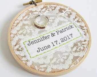 Personalized lace wedding ring holder, ring pillow alternative, wedding day hoop keepsake, rustic country chic ring bearer's ring holder